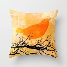 Orange+Bird++Throw+Pillow+by+JuniqueStudio+-+$20.00