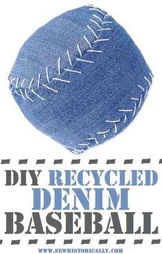 DIY Recycled Denim Baseball - Tutorial & Free Pattern - Sew Historically