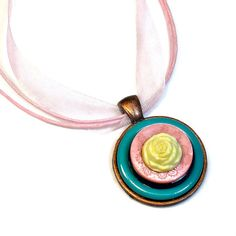 Upcycled Button Yellow Rose Necklace Pendant  by BluKatDesign