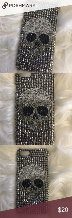 iPhone 7 case iPhone 7 skull bling case.  4.7 inch case.  Black with grey bling 💎. New/Un-used.  Had to remove from package to take clear pictures. Other