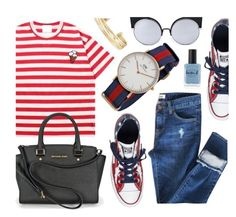 """""""Fun & Casual"""" by monmondefou ❤ liked on Polyvore featuring Momewear, Biu Style, Hotping, Converse, Daniel Wellington, Stella & Dot, Lauren B. Beauty, red and Blue"""