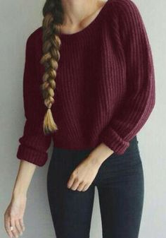 Add a subtle yet lavish vibe to your outfit with this burgundy cable knit pullover.