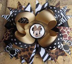 Minnie Mouse Safari Animal Print Hair bow Zebra Leopard by Asil328, $9.99