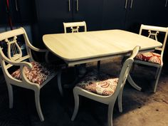 Fully refinished Duncan Phyfe style table and chairs.   SOLD. From Tamara's Timeless Treasures.Tamarabeard1@gmail.com