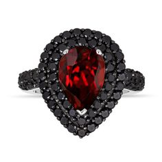 Pear Garnet & Black Diamond Engagement Ring 3.33 Carat 14k White Gold Unique Handmade Certified Halo Pave