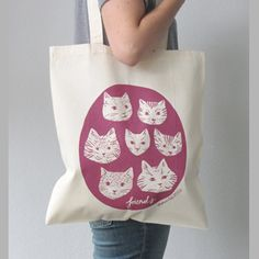 Cat Friends Tote BagCat friends eco tote bag designed and made by Stephanie Cole Design.An eco cotton, hand screen printed tote bag with designer's original Cat friends illustration- perfect for cat lovers,