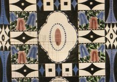 """""""Bellflower""""  Sketch for carpet design for Palais Stoclet, to be used on the servant's staircase  Pencil, watercolor and gouache  c. 1910"""