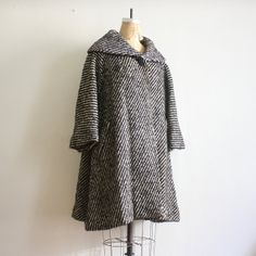 Vintage 1960s Lilli Ann Wool Black n White Swing by nstylevintage, $448.00