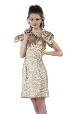 Kirribilla Gold Sequined Dress With Bow Sleeves