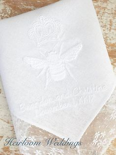 Wedding Gifts For Bride And Groom Wedding gift for bride and groom royal crown bee embroidered handkerchief baptism gift for personalized dated baptism custom monogrammed - Cruise Wedding, Hawaii Wedding, Fall Wedding, Rustic Wedding, Ikea Wedding, Ultimate Wedding Gifts, Unique Wedding Gifts, Wedding Favor Sayings, Wedding Favors