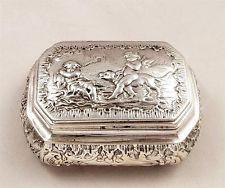 ANTIQUE DUTCH SILVER SNUFF / TRINKET BOX - 1904 - CHERUBS, DOG, BIRD