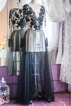 """Купить Будуарное платье """"Черное кружево"""" - свадебное платье, свадебное платье на заказ"""