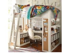 Awesome bunk bed with desk! I want this for Dominic's room but in black.