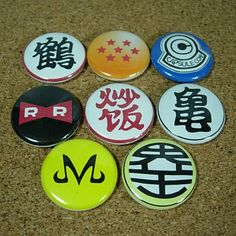 8 Dragon Ball Buttons, $3.20. Me gusta...