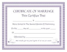Download Blank Marriage Certificates  Printable Wedding
