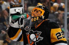 OCTOBER 15: Marc-Andre Fleury #29 of the Pittsburgh Penguins splashes his face with water during the first period against the Anaheim Ducks at PPG Paints Arena on October 15, 2016