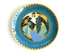 Vintage Three Wise Men Christmas designer collector's plate Fürstenberg German porcelain three kings angel retro mod design 1971