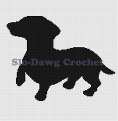 Items similar to Dachsund Silhouette - crochet graph pattern on Etsy Graph Crochet, C2c Crochet, Afghan Crochet Patterns, Crochet Squares, Filet Crochet, Crochet Crafts, Crochet Doilies, Crochet Projects, Embroidery Applique