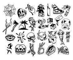 Friday the flash sheet @ Gnostic Tattoo Projekty do wypróbowania Flash Art Tattoos, 13 Tattoos, Kritzelei Tattoo, Tattoo Flash Sheet, Finger Tattoos, Black Tattoos, Body Art Tattoos, Small Tattoos, Easy Tattoos To Draw