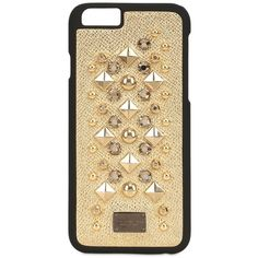 Dolce & Gabbana Women Studded Laminated Leather Iphone 6 Case (€170) ❤ liked on Polyvore featuring accessories, tech accessories, phone cases, phone, cases, iphone and gold