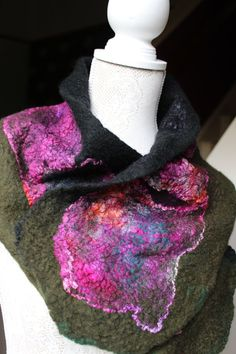 Reversible Felted Neck Warmer In PinkBlackGreen With by OkieFolky