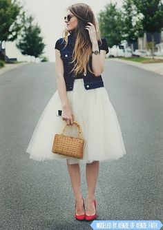 Ivory Tulle Skirt by Kellie Falconer // Retro Off White Tutu