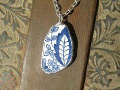 China blue and white pendant  necklace by AzureJoyeria on Etsy