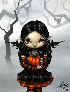Calabaza Pixie otoño halloween hadas arte grabado por strangeling, $13,99