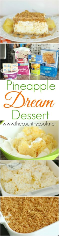 Pineapple Dream Dessert Recipe from The Country Cook. Hello summer! Show up to any BBQ with this in hand, and you will be star of the day. It is absolutely heavenly!