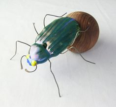 Dung Beetle with Dung Ball Sculpture Fused by trilobiteglassworks.