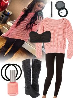 Love her outfit? Find out how to get her style here --> http://prettyprincess.us/teen-fashion-blog/casual-coral-sweater-cuteness/