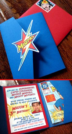 Superhero Comic Book invite --- like the wedding invite we did for M Almost.