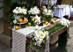What a great decor/centerpiece idea for a long buffet table at a summer event
