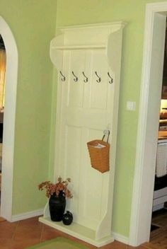 with an old door. Make bottom piece big enough to set shoes on.