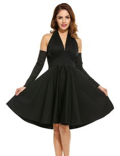 Black New Women Sexy V-Neck Backless Solid Pleated Halter Dress with Two Separate Sleeves