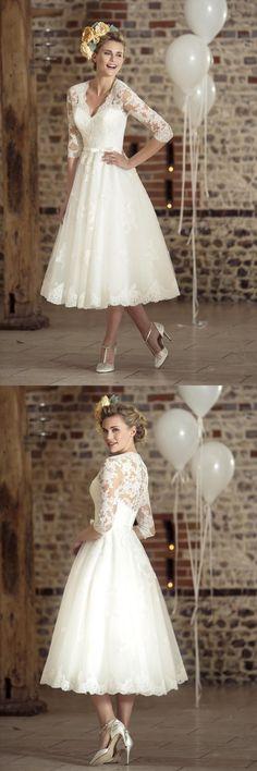 tea length v neck a-line/princess long sleeves lace wedding dress