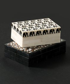 Look what I found on #zulily! White & Black Bone Elephant Trinket Box by Shiraleah #zulilyfinds