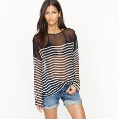 Sheer striped shirt! Perfect for a chic beach style.