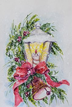 Christmas candle light original water color painting by PDisanska