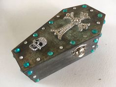 Items similar to Coffin Ring Box - Miniature Coffin Jewelry/Keepsake Box - Unique Wedding Ring Box - Green on Etsy Halloween Care Packages, Dark Wood Stain, Ring Bearer Box, Skull Face, Wedding Ring Box, Keepsake Boxes, Decoration, Coffin, Diamond Cuts