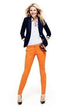 Orange skinny jeans and a blue blazer. Cute color combination for spring!