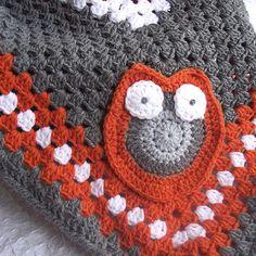 Owl Baby Blanket  - Gray, Orange and White Owl Granny Square Afghan - READY to SHIP Crochet Granny Square Blanket. $60.00, via Etsy.