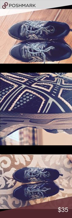Asics men's shoes size 9.5 black and blue Men's Asics tennis shoes worn twice husband did not like. Black with blue trim no marks on shoes. Asics Shoes Sneakers