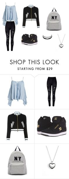 """cute styal"" by angie-1669 ❤ liked on Polyvore featuring Sans Souci, Moschino, DC Shoes, Joshua's, Charlotte Russe and Pandora"