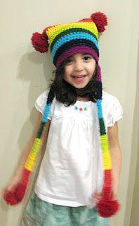 Rainbow Extravaganza Pom Pom Hat - Free Pattern