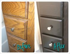 How to dark stain old cabinets to look new! Easy step by step!
