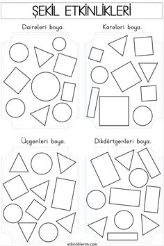 Shape Worksheets For Preschool, Shapes Worksheet Kindergarten, Shapes Worksheets, Preschool Shapes, Preschool Activities, Shape Activities, Shapes For Kids, Pre School, Coloring Pages