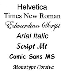 TYPEFACES Popular typefaces include Times Roman, Helvetica, and Courier. The typeface represents one aspect of a font. The font also includes such characteristics as size, weight, italics, and so on. There are two general categories of typefaces: serif and sans seri Description link: www.webopedia.com/TERM/T/typeface.html Image link: http://labelsbydesign.com.au/images/products/typefaces.gif
