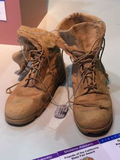 Ceramic combat boots at the California state fair made by a student at Granite…