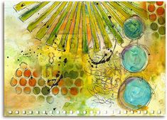 SPEAK LOUDLY art journal page by Roben-Marie Smith ~ Various supplies used: gesso, Canson blank journal, Pilot Pen, Golden acrylic paint, Adirondack Colorwash inks, Tumble Tie Dye spray inks, Lettering Guide Stencil Set, Sunburst Stencil, Circle Master Stencil and punchanella.
